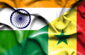 Waving flag of Senegal and India — Stock fotografie