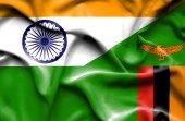 Waving flag of Zimbabwe and India — Stock Photo