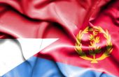 Waving flag of Eritrea and Indonesia — Stock Photo