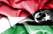 Vlající vlajka Libye a Indonésie — Stock fotografie