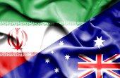 Vlající vlajka Austrálie a Íránu — Stock fotografie