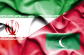 Waving flag of Maldives and Iran	 — Stock Photo