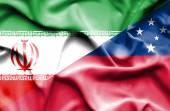 Waving flag of Samoa and Iran — Стоковое фото