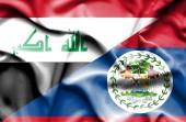 Belize ve Irak bayrağı sallayarak — Stok fotoğraf