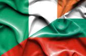 Waving flag of Bulgaria and Ireland — Stock Photo