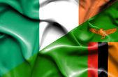 Waving flag of Zimbabwe and Ireland — Stock Photo
