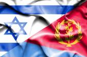 Waving flag of Eritrea and Israel — Stock Photo