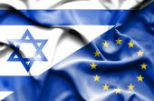 Waving flag of European Union and Israel — Stock Photo