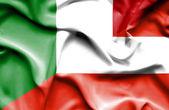 Waving flag of Austria and Italy — Stock Photo