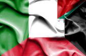 Kuveyt ve İtalya bayrağı sallayarak — Stok fotoğraf