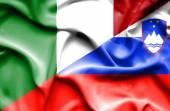 Waving flag of Slovenia and Italy — Stock Photo