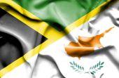 Waving flag of Cyprus and Jamaica — Stock Photo