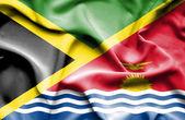 Waving flag of Kiribati and Jamaica — Stock Photo