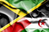 Waving flag of Western Sahara and Jamaica — Stockfoto
