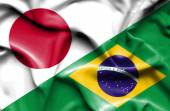 Waving flag of Brazil and Japan — Stock Photo