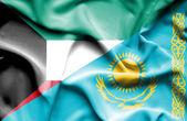 Bandeira do Cazaquistão e Kuwait — Fotografia Stock