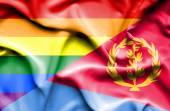 Waving flag of Eritrea and LGBT — Stock Photo