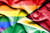 Mávání vlajkou Guyany a Lgbt — Stock fotografie