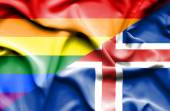 Waving flag of Iceland and LGBT — Stock Photo
