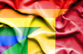 Waving flag of Mali and LGBT — Stockfoto