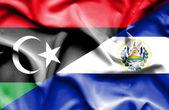 Waving flag of El Salvador and Libya — 图库照片