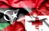 Agitant le drapeau des Tonga et la Libye — Photo
