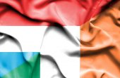 Waving flag of Ireland and Luxembourg — ストック写真