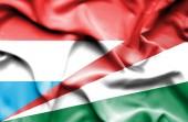Mávání vlajkou Seychely a Lucembursko — Stock fotografie
