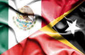 Waving flag of East Timor and Mexico — Stock Photo