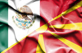 Waving flag of Macedonia and Mexico — Stock Photo