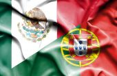 Waving flag of Portugal and Mexico — Stock Photo