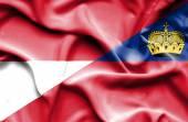 Waving flag of Lichtenstein and Monaco — ストック写真