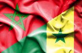 Waving flag of Senegal and Morocco — Foto de Stock