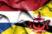 Sventolando la bandiera del brunei e nei Paesi Bassi — Foto Stock