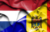 Waving flag of Moldavia and Netherlands — Стоковое фото