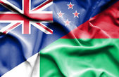 Waving flag of Madagascar and New Zealand — Stock Photo
