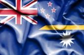 Viftande flagga nauru och Nya Zeeland — Stockfoto