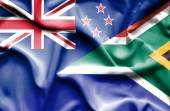 Bandeira da África do Sul e Nova Zelândia — Fotografia Stock