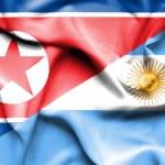 Waving flag of Argentina and North Korea — Stock Photo #75516303