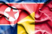 Waving flag of Chad and North Korea — Stock Photo