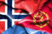 Waving flag of Eritrea and Norway — Stock Photo