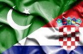Waving flag of Croatia and Pakistan — Stock Photo