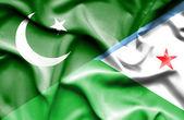 Waving flag of Dijbouti and Pakistan — Stock Photo