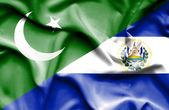 Waving flag of El Salvador and Pakistan — Stock Photo