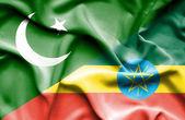 Waving flag of Ethiopia and Pakistan — Stock Photo