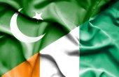 Waving flag of Ivory Coast and Pakistan — Stock Photo