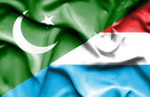 Waving flag of Luxembourg and Pakistan — Stock Photo