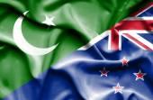 Waving flag of New Zealand and Pakistan — Stock Photo