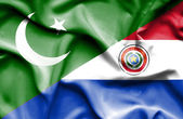 Waving flag of Paraguay and Pakistan — Stock Photo