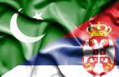 Waving flag of Serbia and Pakistan — Stock Photo
